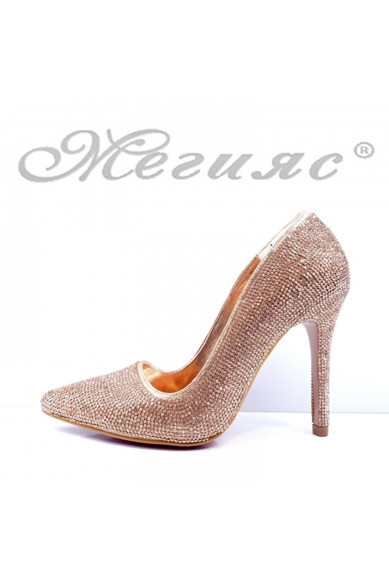 Дамски обувки елегантни бакър текстил с камъни остри на висок ток 1294