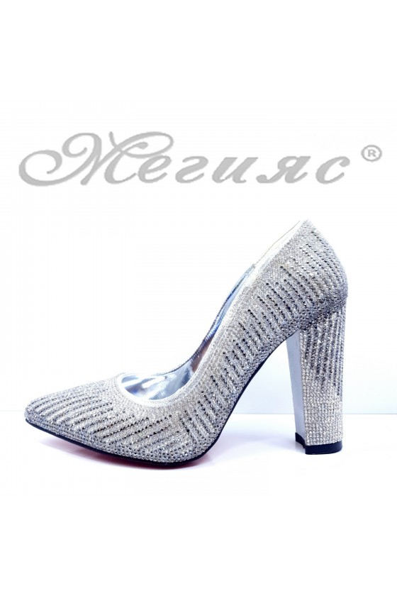 Дамски обувки елегантни сребърен текстил 1518