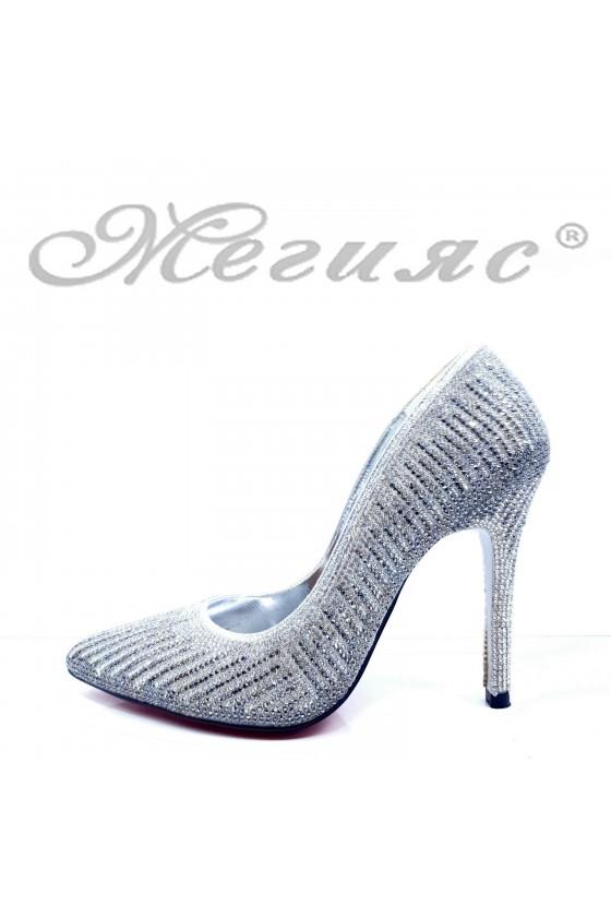 Дамски обувки елегантни сребърни текстил с камъни остри тънък ток 1519