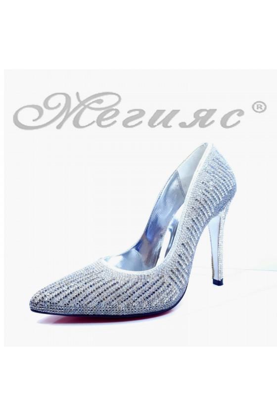 Дамски обувки елегантни сребърни текстил 1519