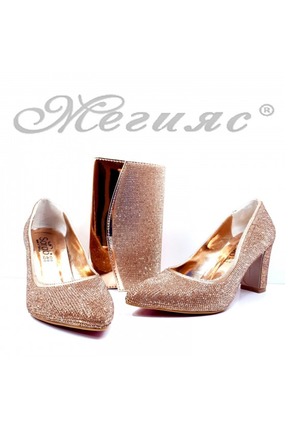 1293 Lady shoes rose gold high heels