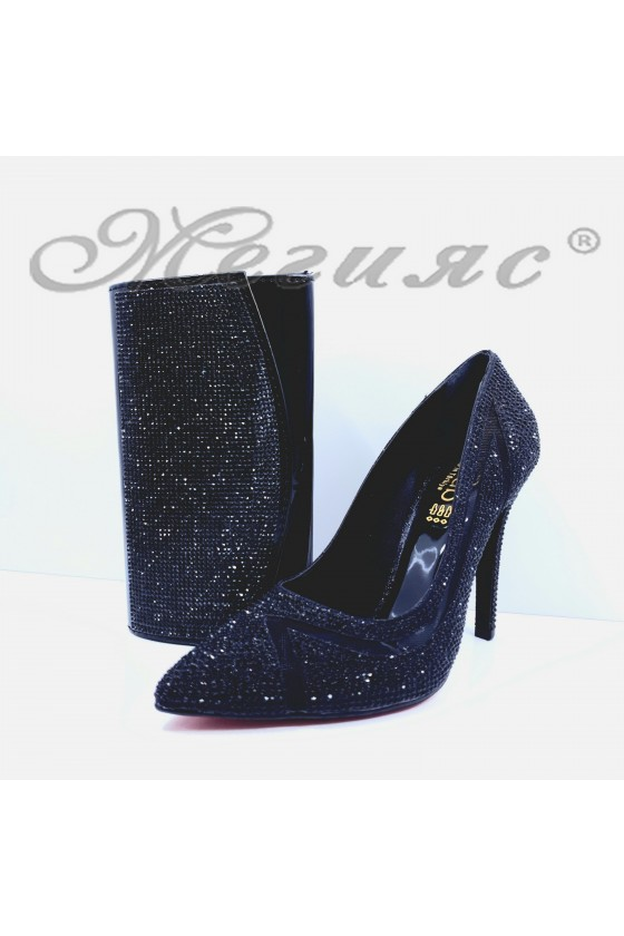 1655 Lady shoes black with bag 1519