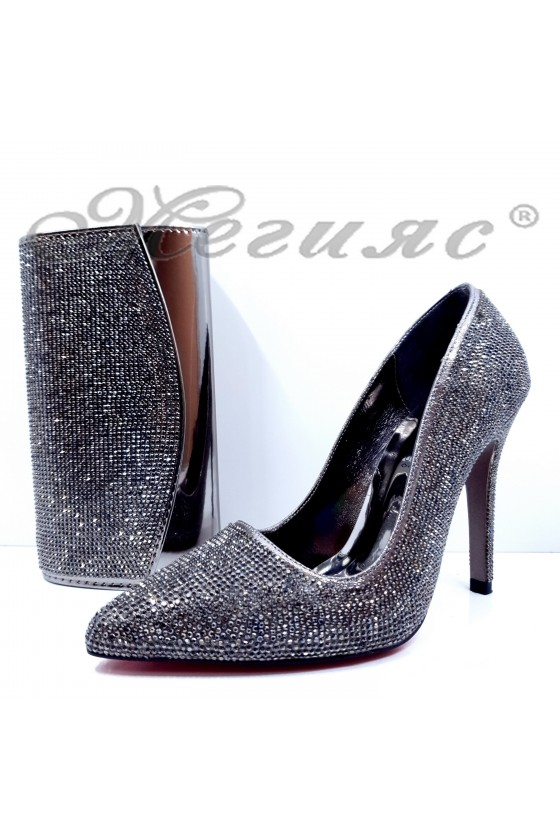 1294 Lady shoes dk grey with bag 1519