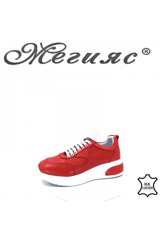 8003 Lady sport shoes red leather