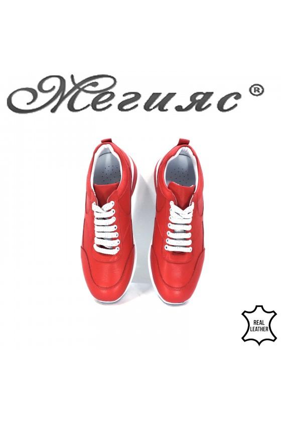 Дамски обувки естествена кожа червени 8003