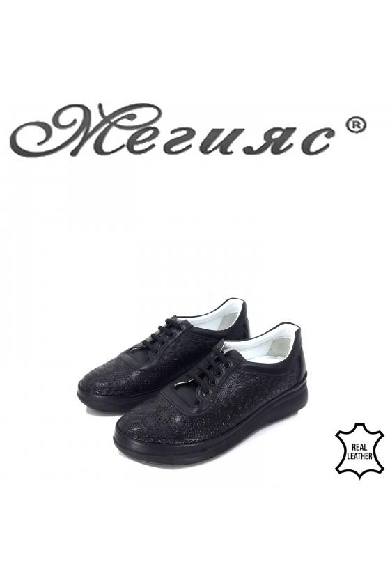 Дамски обувки от естествена кожа черни 07