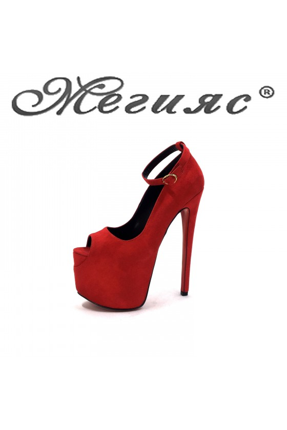 975 Lady shoes red suede high heels