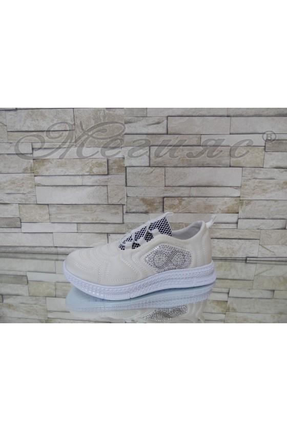 160 Lady sport shoes white textile