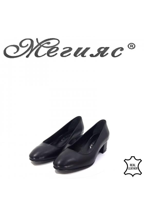 Дамски обувки на ток от естествена кожа черни 6009