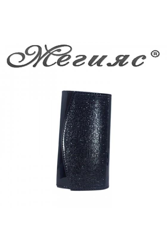 Дамска чанта елегантна черен лак с камъни 1519