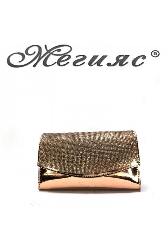 Дамска чанта елегантна бакър лак с камъни