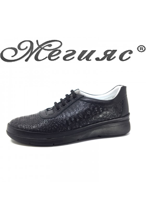07 Lady sport shoes black leather