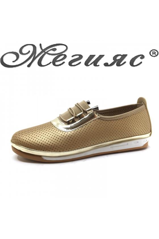 Дамски обувки ежедневни златни 339