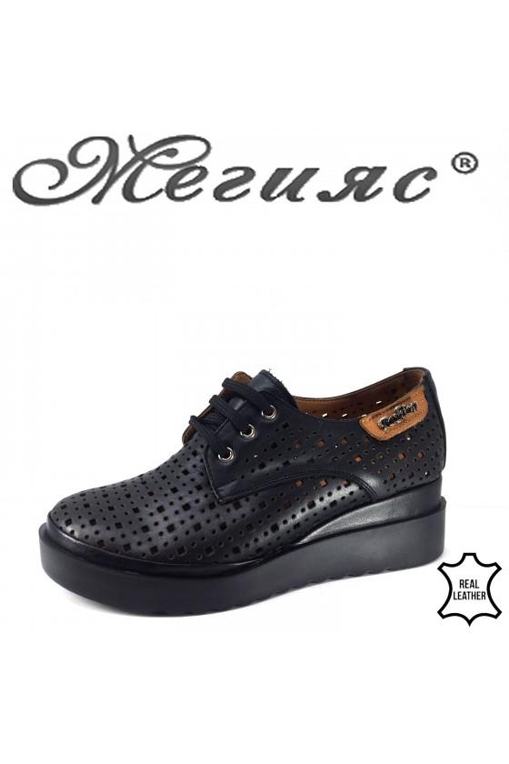 Дамски обувки на платформа естествена кожа черни 9263