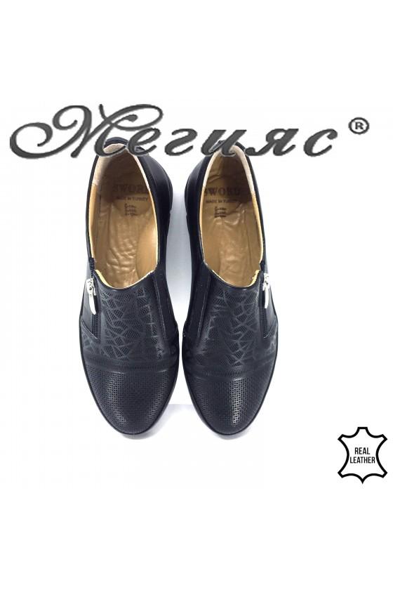 Дамски обувки черни от естествена кожа 201