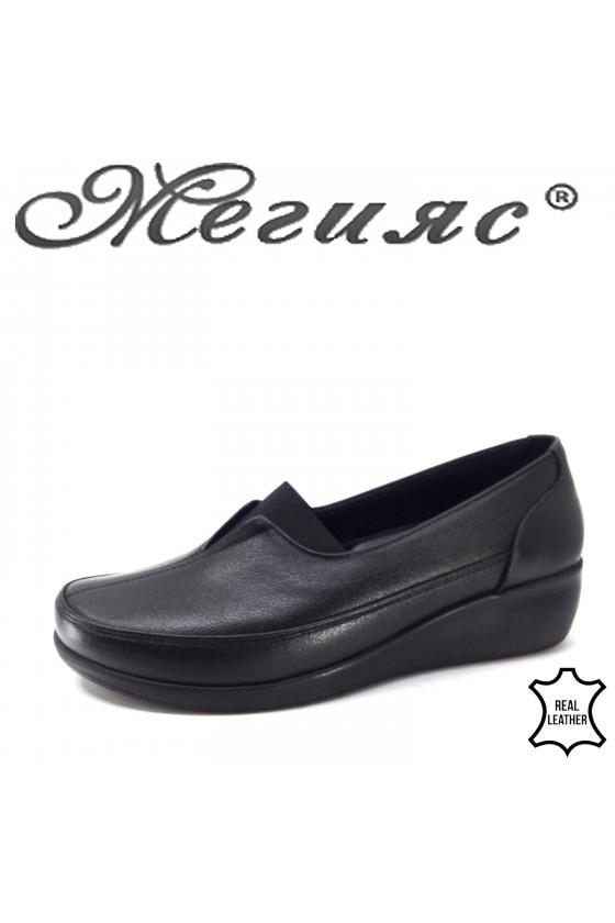 Дамски обувки черни от естествена кожа 1005