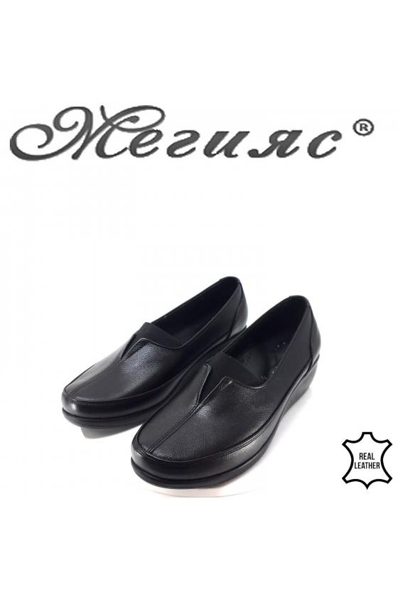 Дамски ортопедични обувки CAN черни от естествена кожа 1005