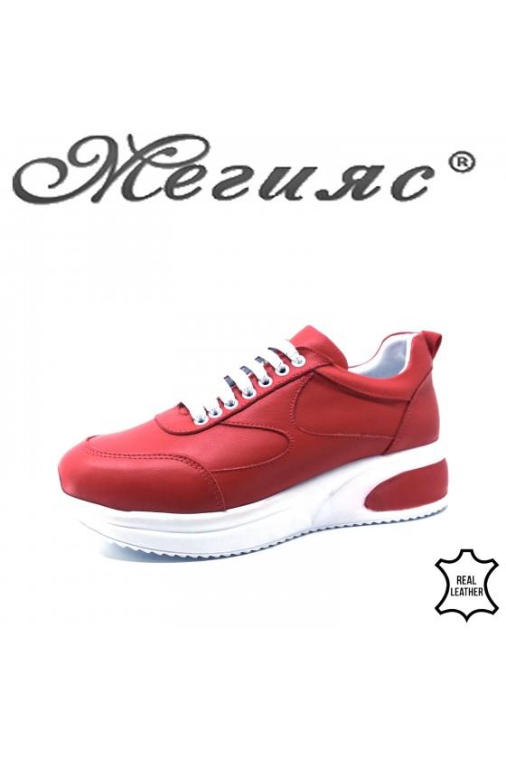 Дамски обувки спортни естествена кожа червени 8003