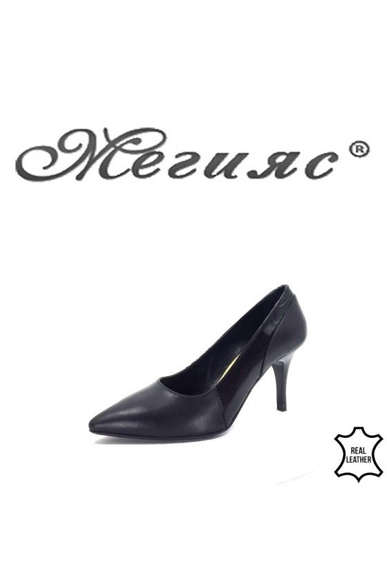 Дамски обувки на ток черни от естествена кожа 279-01-15