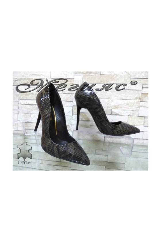 Дамски обувки на ток змийски от естествена кожа 178-48