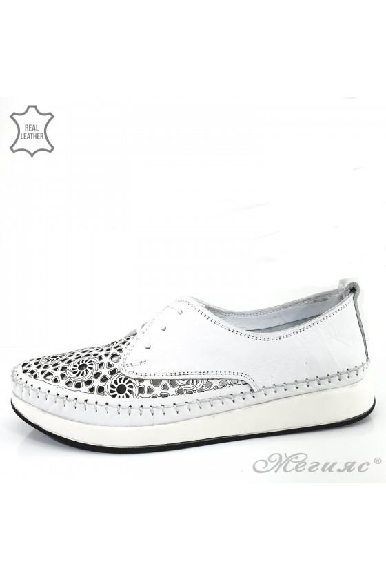 Дамски обувки ежедневни бели от естествена кожа 03-l