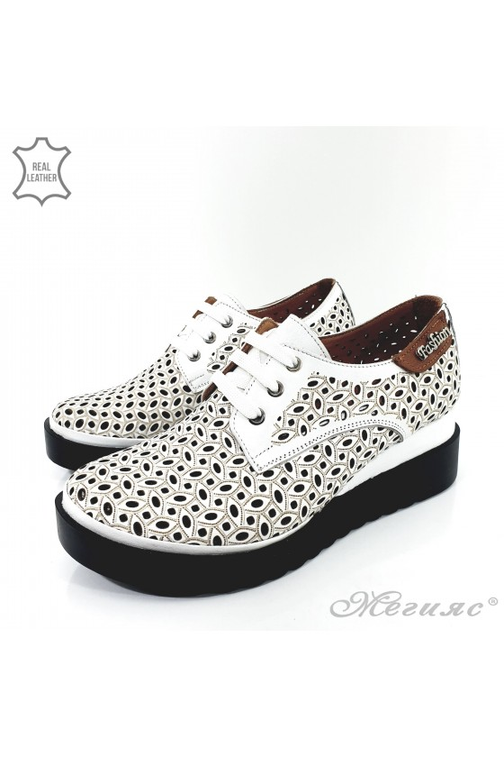 9263 Lady shoes white leather