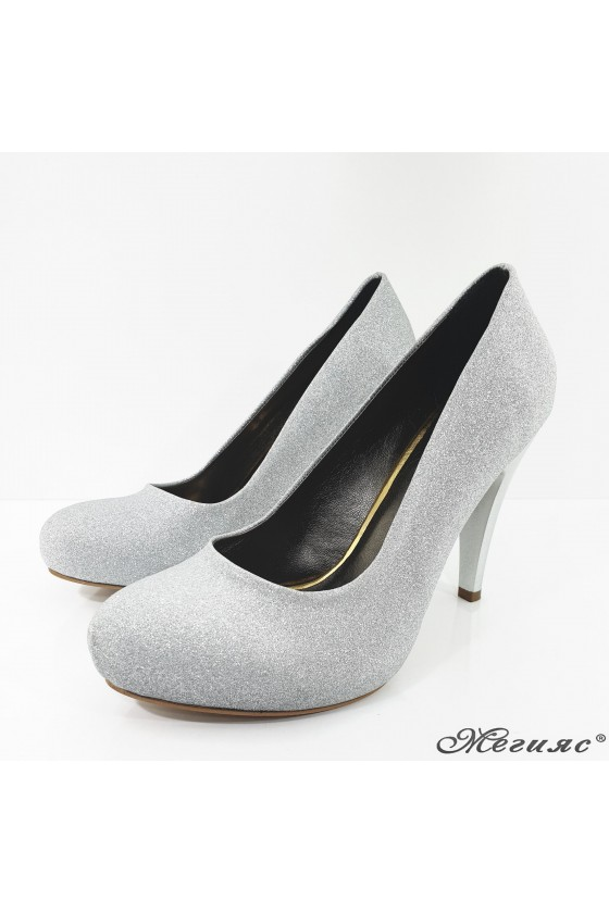 218-1 Lady shoes silver high heels