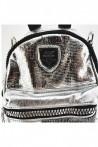16348 Дамска раница сива от текстил с лъскаво покритие