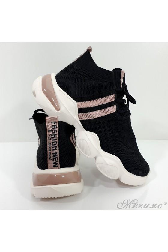 1033 Дамски спортни обувки черни с пудра текстил