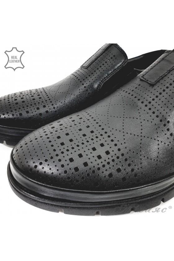 Мъжки обувки черна перфорация от естествена кожа 1901-2
