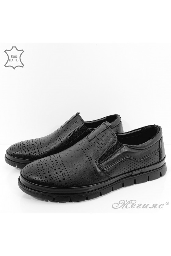 1901-2 Мъжки обувки черна перфорация от естествена кожа