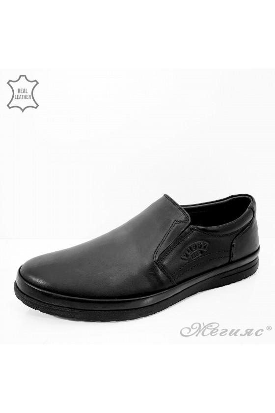 845 Мъжки обувки черни от естествена кожа