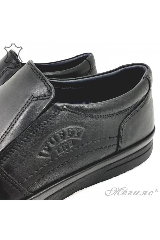 Мъжки обувки без връзки от естествена кожа черни 845-20