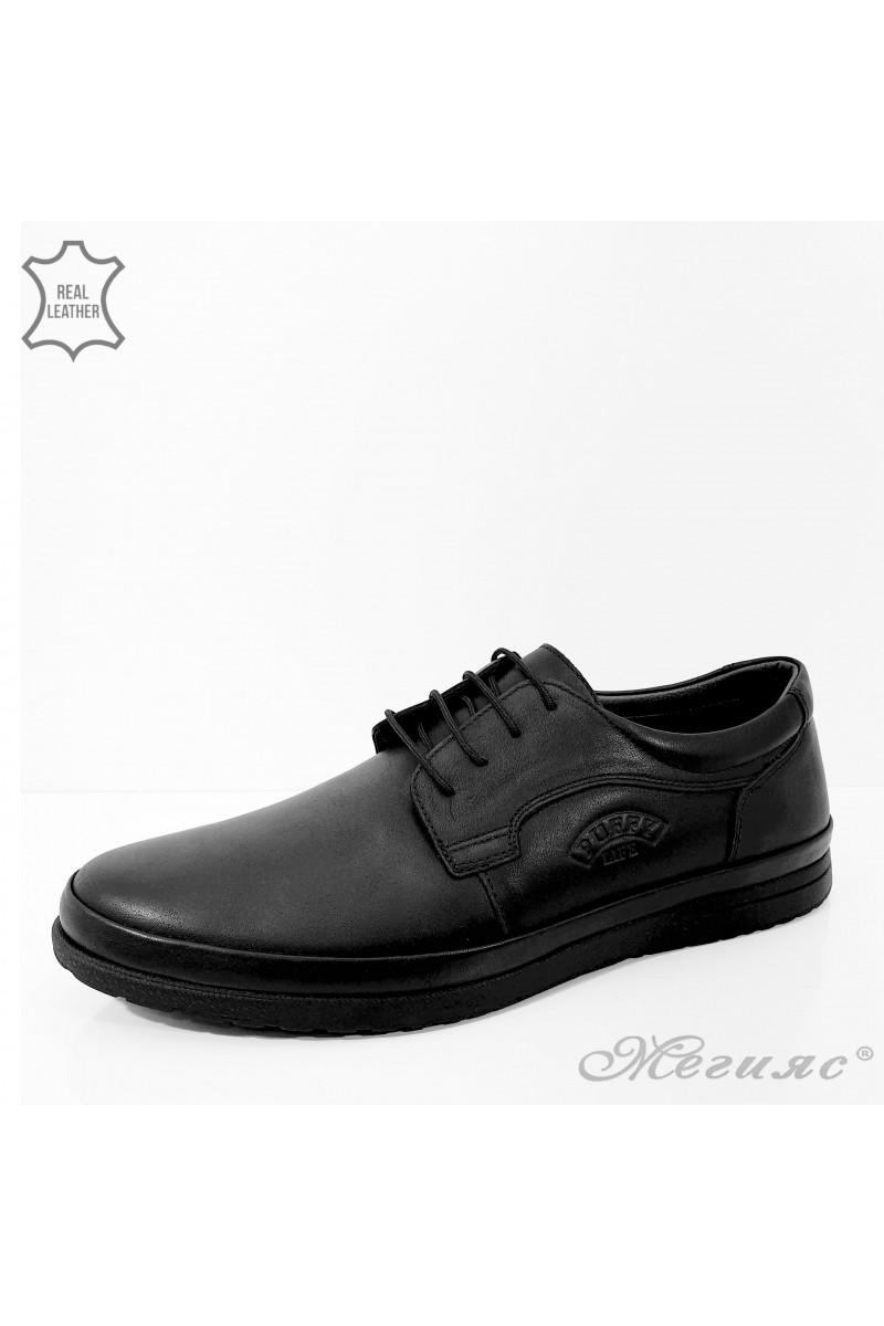 846 Мъжки обувки черни от естествена кожа