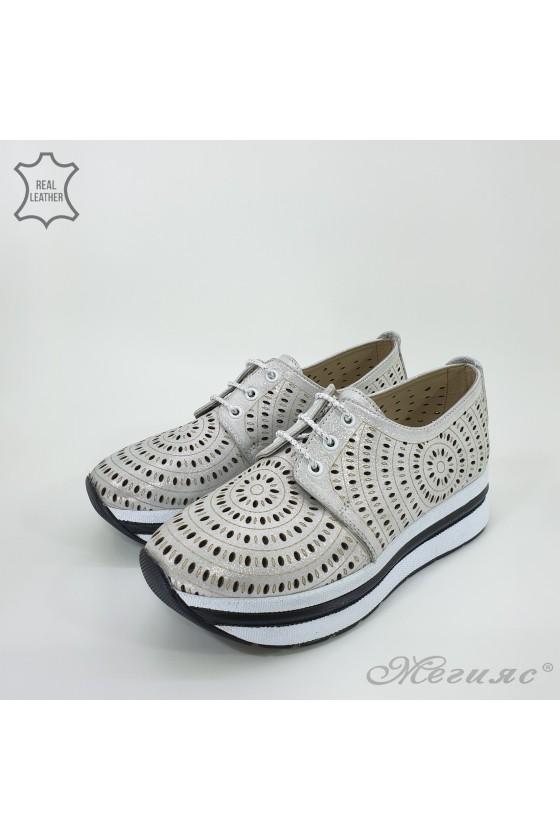 Дамски обувки на платформа сиви  от естествена кожа 105/71
