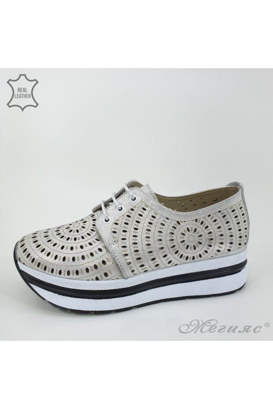 105/71 Дамски обувки сиви от естествена кожа