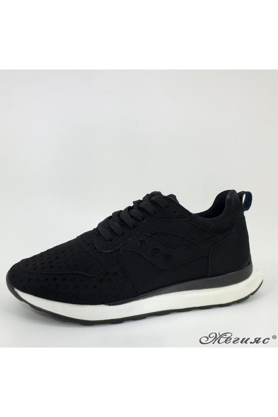 104 Lady sport shoes black sued
