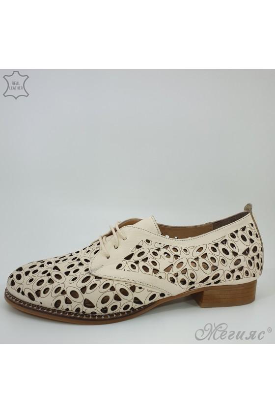 Дамски обувки от естествена кожа бежови XXL 205/10