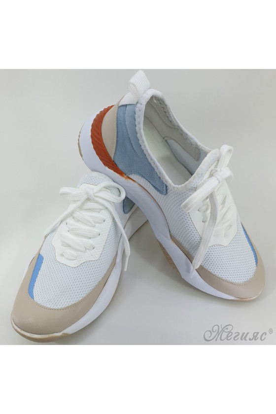 1314 Lady sport shoes white and blue textile
