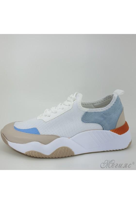 1314 Дамски обувки спортни бяло с бежово и синьо