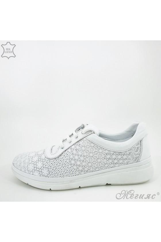 Дамски обувки от естествена кожа бели 07