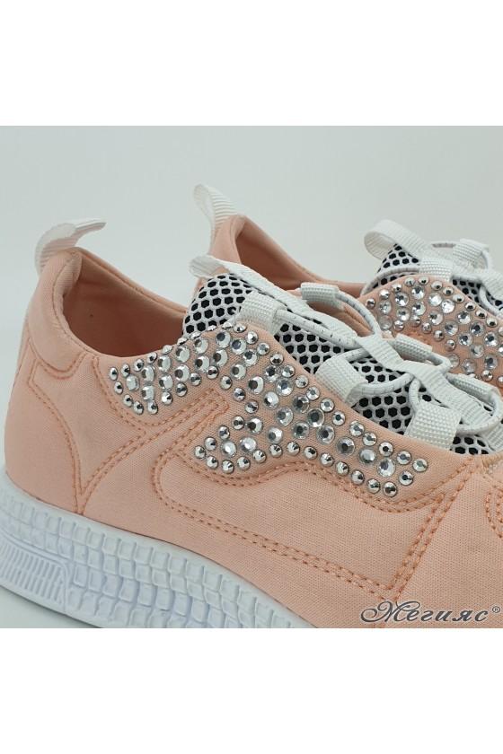 Дамски спортни обувки пудра текстил 160