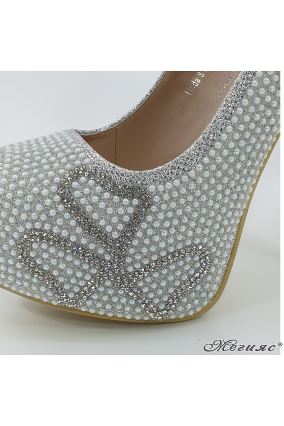 Lady elegant shoes  Linda 1720-15  silver with stones
