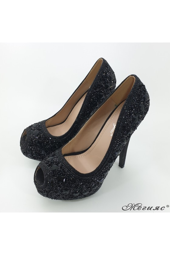 Lady  elegant shoes Linda 1720-13 black with stones