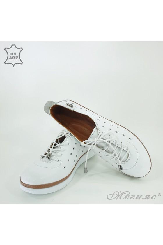 Дамски ортопедични обувки спортни  естествена кожа перфорация бели 035