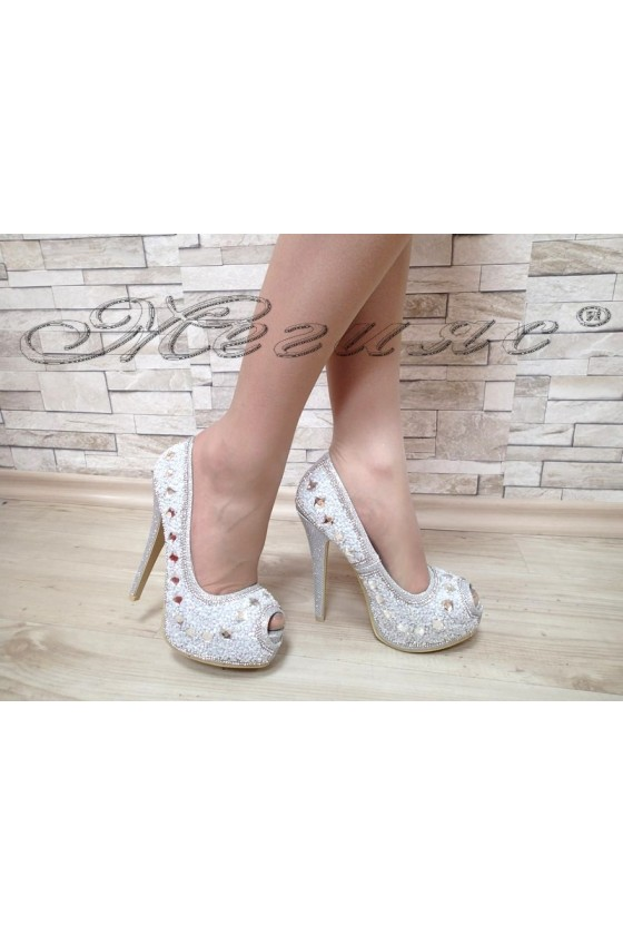 Lady elegant  shoes Linda 1720-13 silver with stones