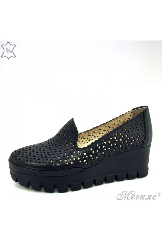 955/04 Дамски обувки черни естествена кожа