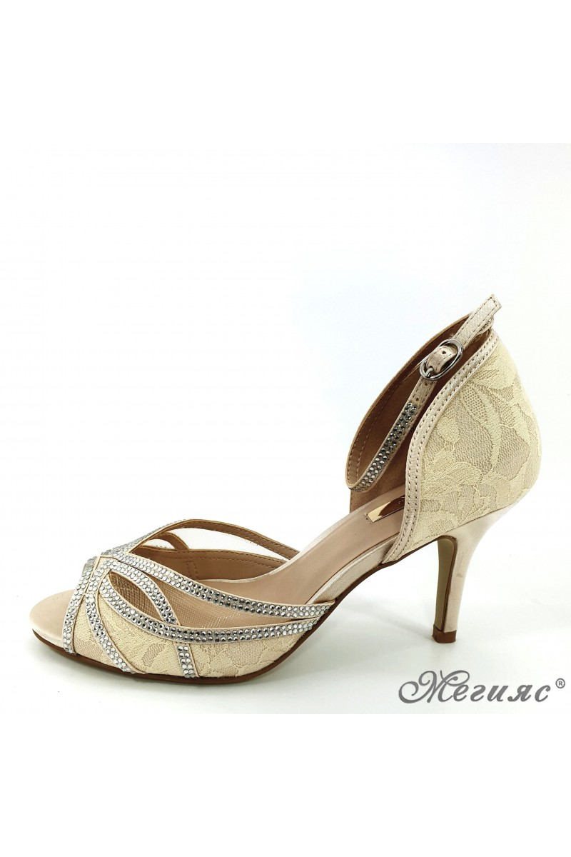 Дамски сандали Jeniffer 18s20-115 шампанско елегантни на среден ток