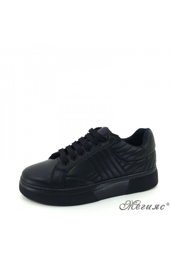 3137 Lady sports shoes black pu