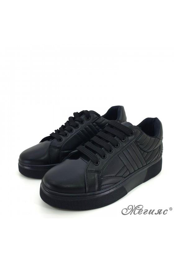3137 Дамски спортни обувки черни  еко кожа